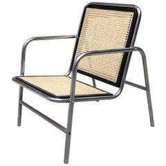 Italian Chromed Steel, Wood and Vienna Straw Armchair, Cesca Style, 1970s