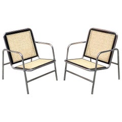 Italian Chromed Steel, Wood and Vienna Straw Armchairs, Cesca Style, 1970s