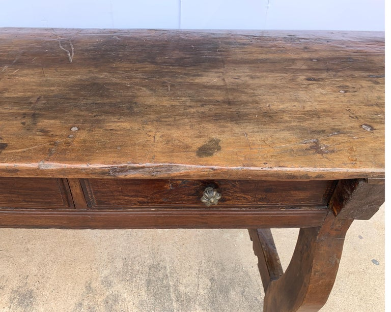 Hand-Crafted Italian circa 1650s Tuscan Console with Single Board Walnut Top and Three Drawer For Sale