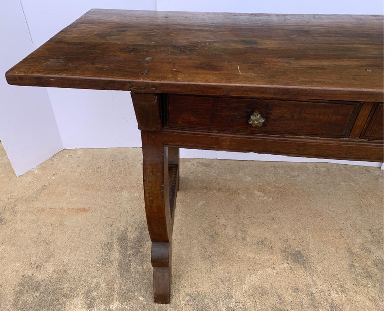 17th Century Italian circa 1650s Tuscan Console with Single Board Walnut Top and Three Drawer For Sale