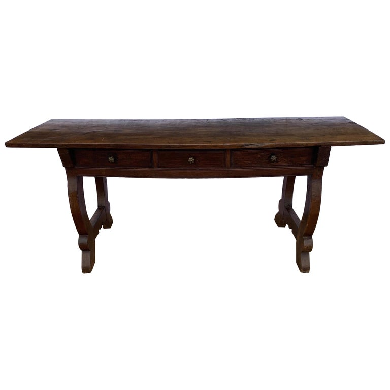 Italian circa 1650s Tuscan Console with Single Board Walnut Top and Three Drawer For Sale