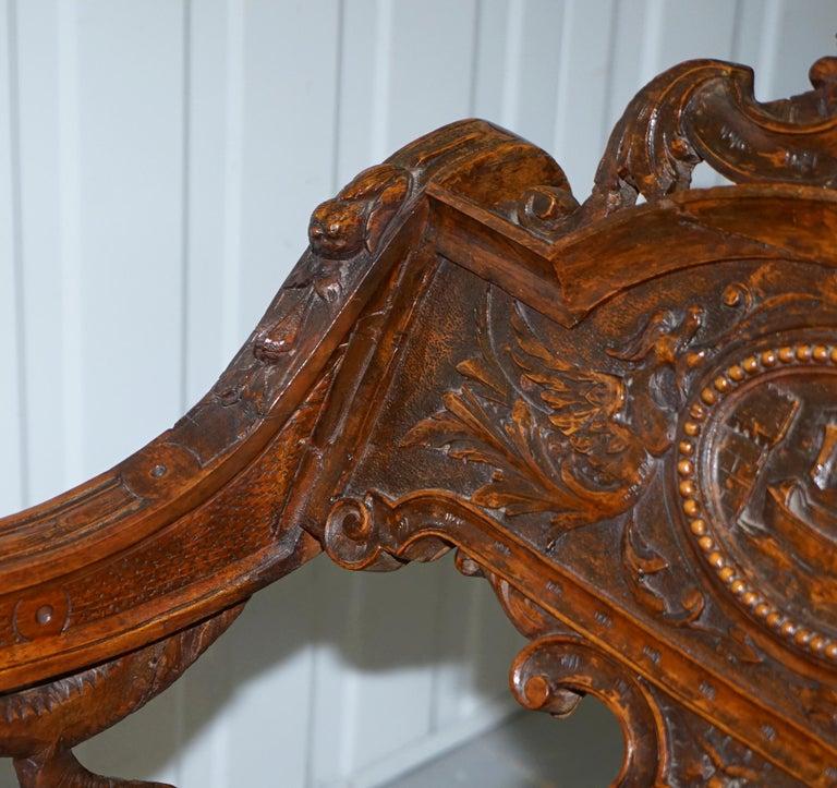 Italian circa 1850 Fruitwood Restored Hand Carved Lion & Cherub Rocking Armchair For Sale 4