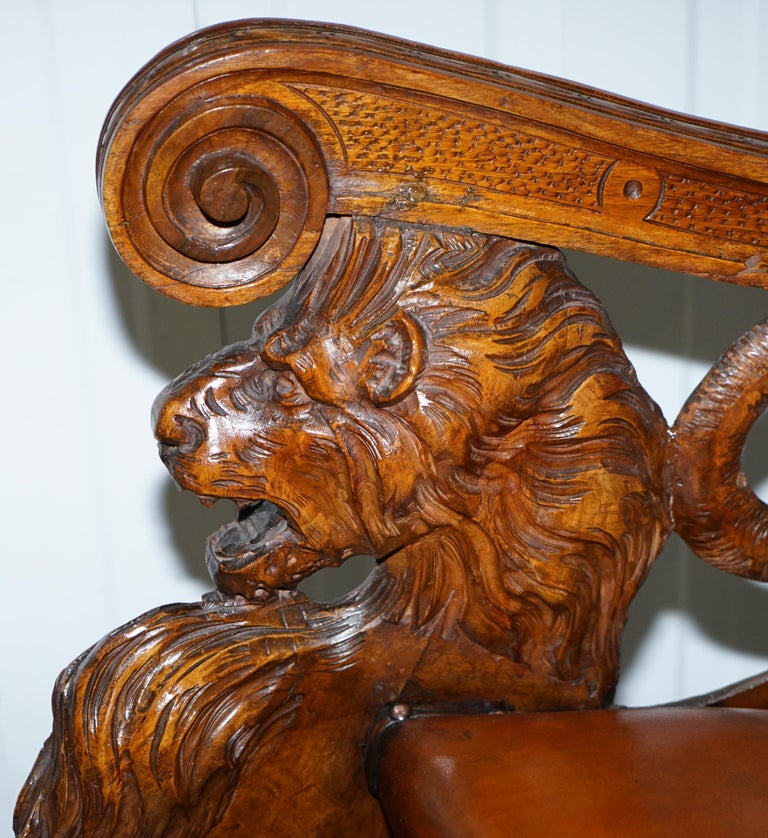 Italian circa 1850 Fruitwood Restored Hand Carved Lion & Cherub Rocking Armchair For Sale 5