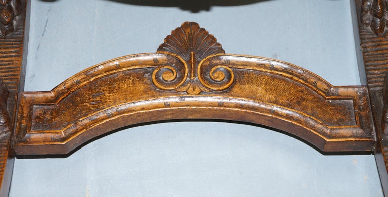 Italian circa 1850 Fruitwood Restored Hand Carved Lion & Cherub Rocking Armchair For Sale 6