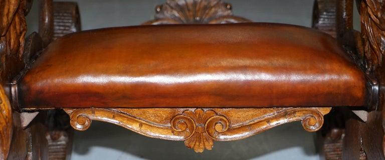 Italian circa 1850 Fruitwood Restored Hand Carved Lion & Cherub Rocking Armchair For Sale 7