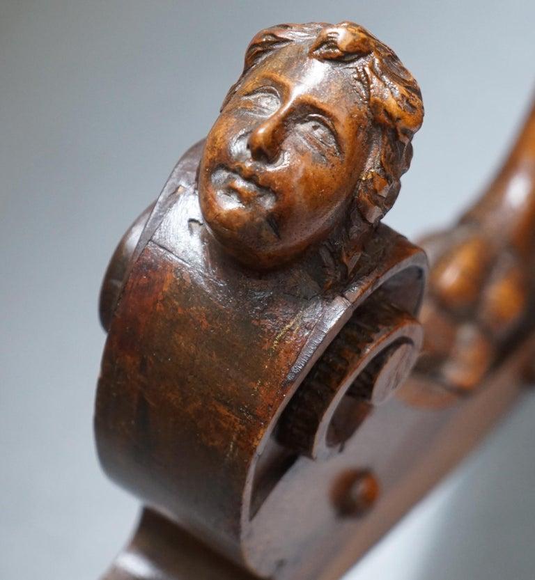 Italian circa 1850 Fruitwood Restored Hand Carved Lion & Cherub Rocking Armchair For Sale 9