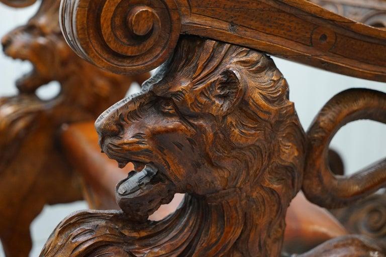 Italian circa 1850 Fruitwood Restored Hand Carved Lion & Cherub Rocking Armchair For Sale 12