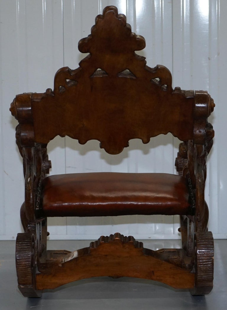 Italian circa 1850 Fruitwood Restored Hand Carved Lion & Cherub Rocking Armchair For Sale 13