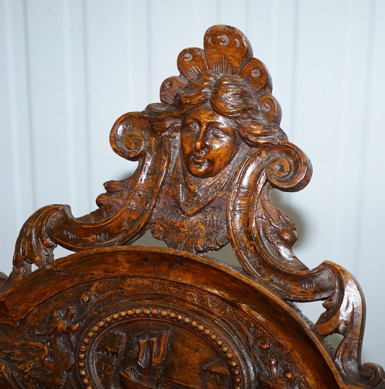Italian circa 1850 Fruitwood Restored Hand Carved Lion & Cherub Rocking Armchair In Good Condition For Sale In London, GB