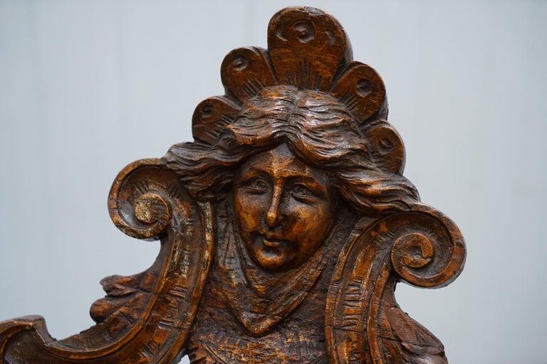 Mid-19th Century Italian circa 1850 Fruitwood Restored Hand Carved Lion & Cherub Rocking Armchair For Sale