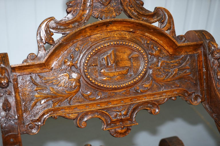 Italian circa 1850 Fruitwood Restored Hand Carved Lion & Cherub Rocking Armchair For Sale 1