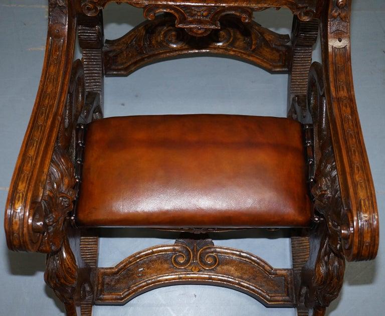 Italian circa 1850 Fruitwood Restored Hand Carved Lion & Cherub Rocking Armchair For Sale 2