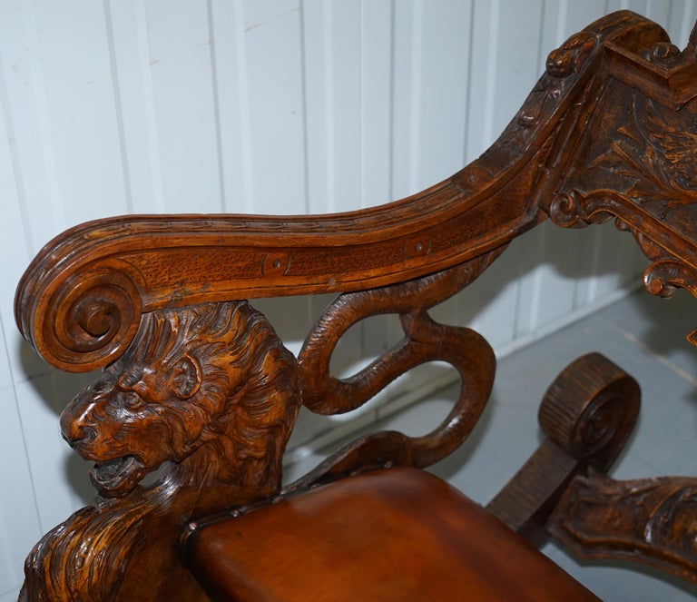 Italian circa 1850 Fruitwood Restored Hand Carved Lion & Cherub Rocking Armchair For Sale 3