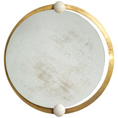 Italian Circular Brass and Wood Mirror