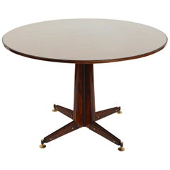 Italian Circular Rosewood Dining Table with Glass Inlay, circa 1950