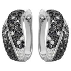 Italian Classic Black Diamond White Gold Statement Lever-Back Earrings for Her