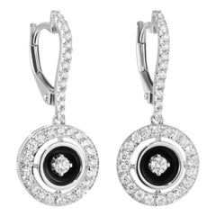 Italian Classic White Diamond White Gold Statement Lever-Back Earrings for Her