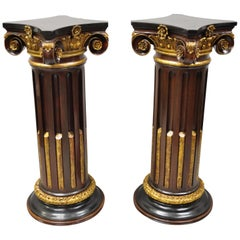 Italian Classical Carved Polychrome Gold Gilt Corinthian Column Pedestals, Pair