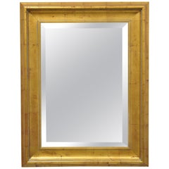 Italian Classical Distressed Gold Leaf Rectangular Console Wall Mirror