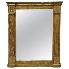 Italian Classical Florentine Giltwood Distressed Gold Looking Glass Wall Mirror