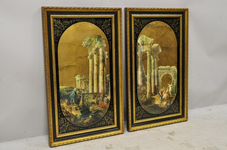 Italian Classical Reverse Painted Glass Gold Roman Greek Art Painting, a Pair For Sale 6