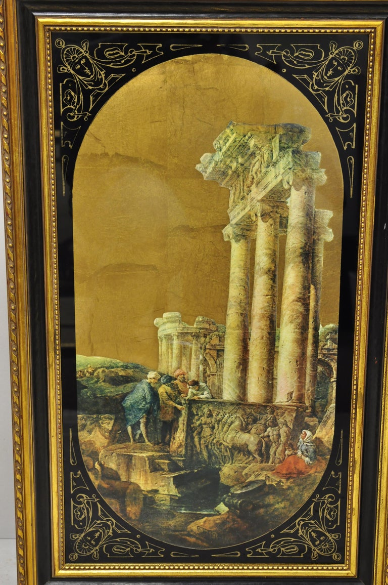 Italian classical reverse painted glass gold roman Greek art painting, a pair. Item features églomisé and gold leaf reverse painted glass, classical Greek/Roman scenes, quality Italian craftsmanship, great style and form, circa mid-20th century.