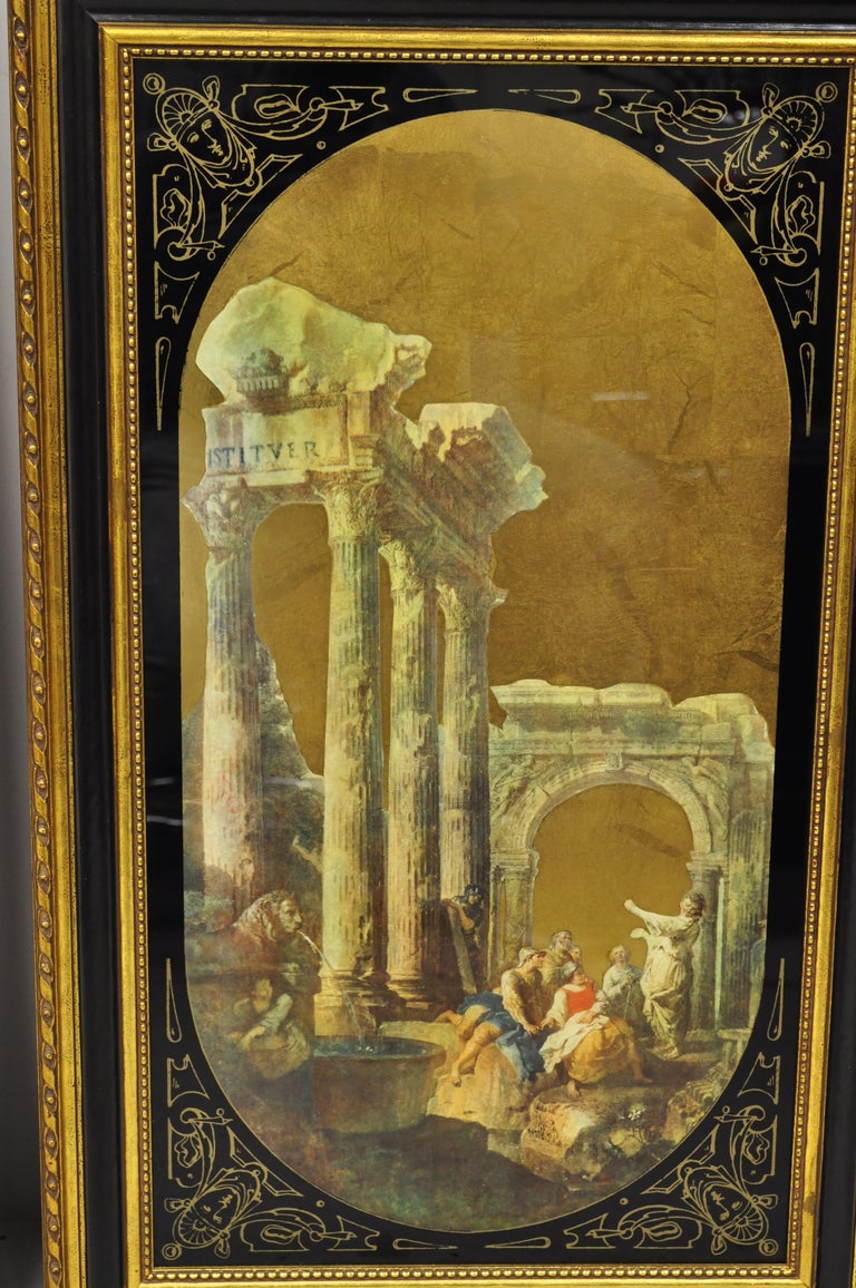 Classical Greek Italian Classical Reverse Painted Glass Gold Roman Greek Art Painting, a Pair For Sale