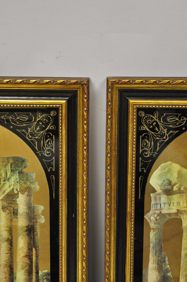 Italian Classical Reverse Painted Glass Gold Roman Greek Art Painting, a Pair In Good Condition For Sale In Philadelphia, PA