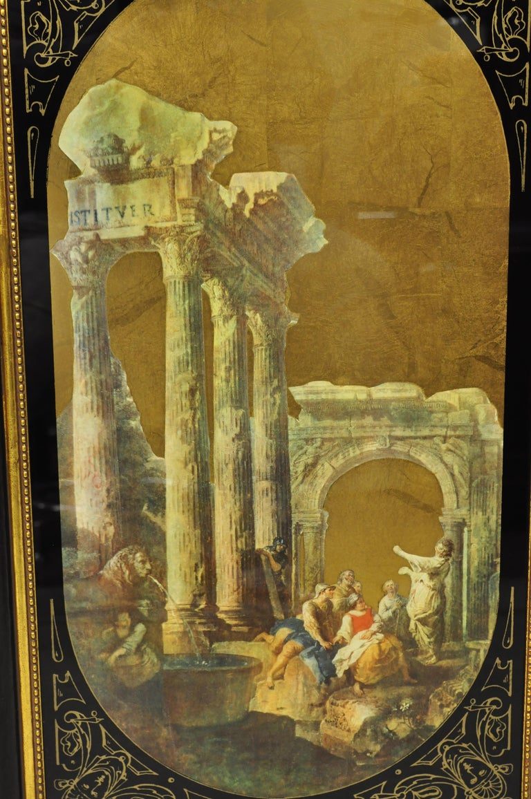 Italian Classical Reverse Painted Glass Gold Roman Greek Art Painting, a Pair For Sale 2