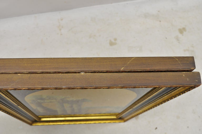 Italian Classical Reverse Painted Glass Gold Roman Greek Art Painting, a Pair For Sale 4