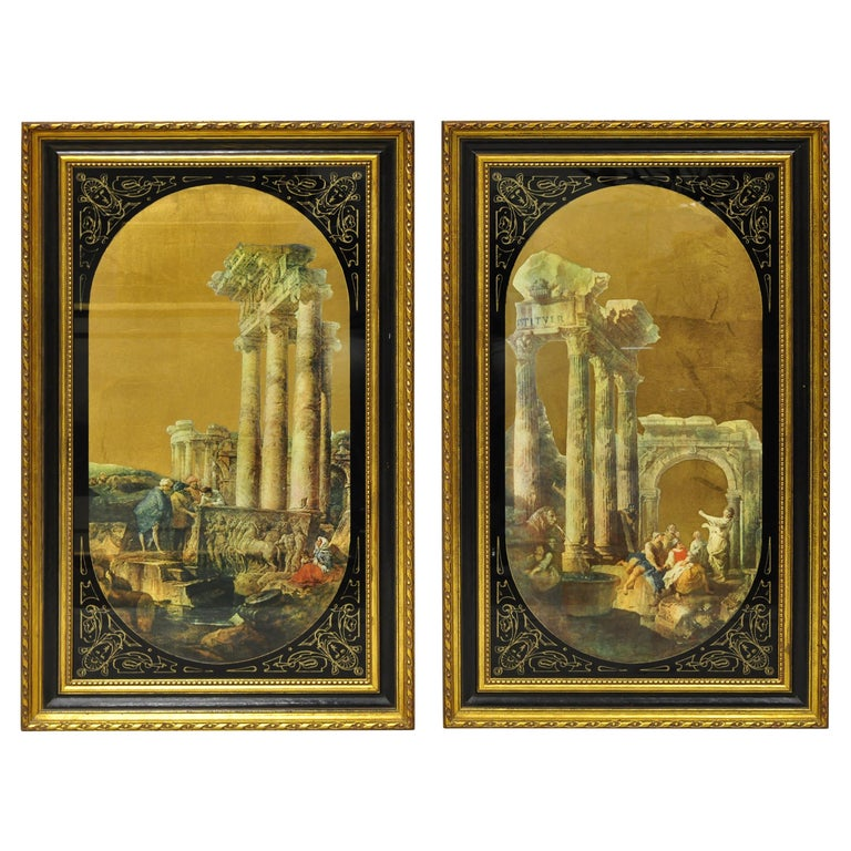 Italian Classical Reverse Painted Glass Gold Roman Greek Art Painting, a Pair For Sale