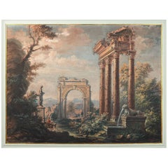 'Italian Classical Scene' Tempera Painting by Artist F. Morgante, 20th Century
