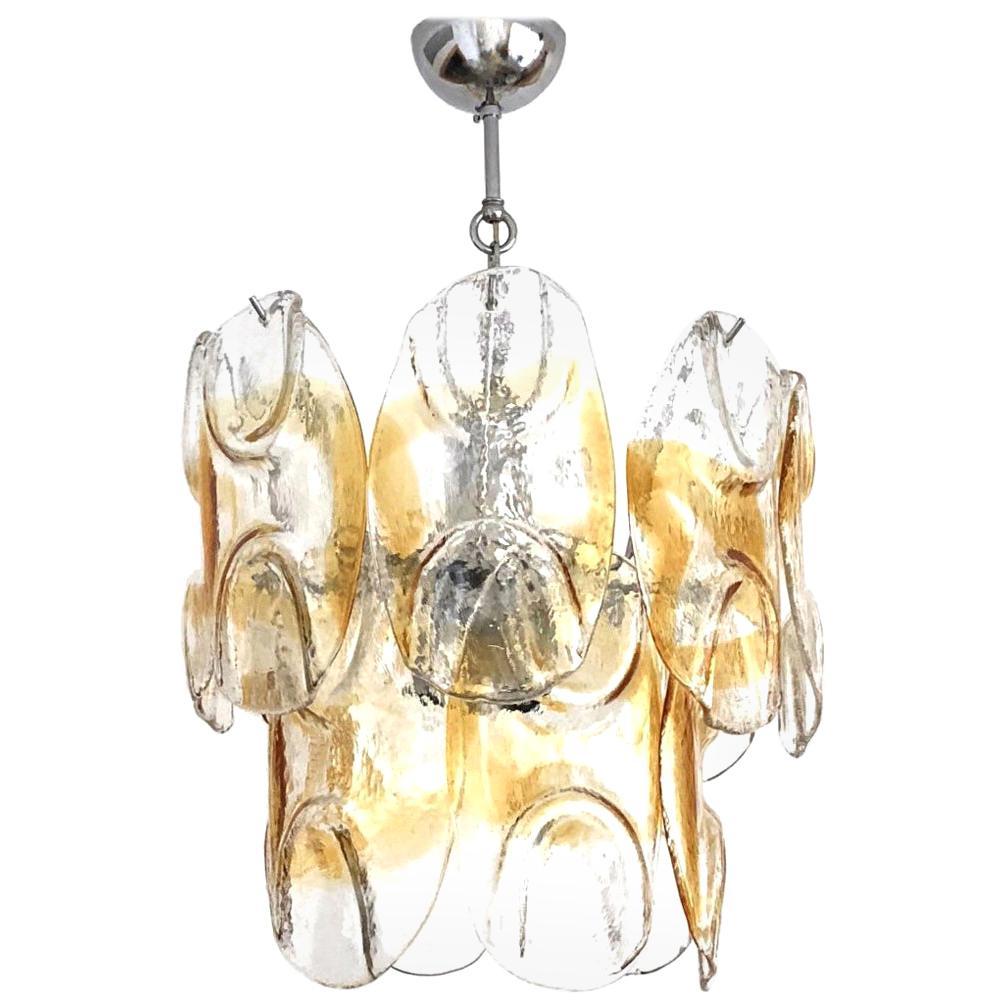 Italian Clear Amber Murano Glass Midcentury Chandelier by AVMazzega, 1960s