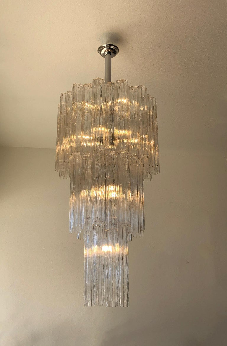 Modern Italian Clear Murano Glass and Chrome Tronchi Chandelier by Venini For Sale