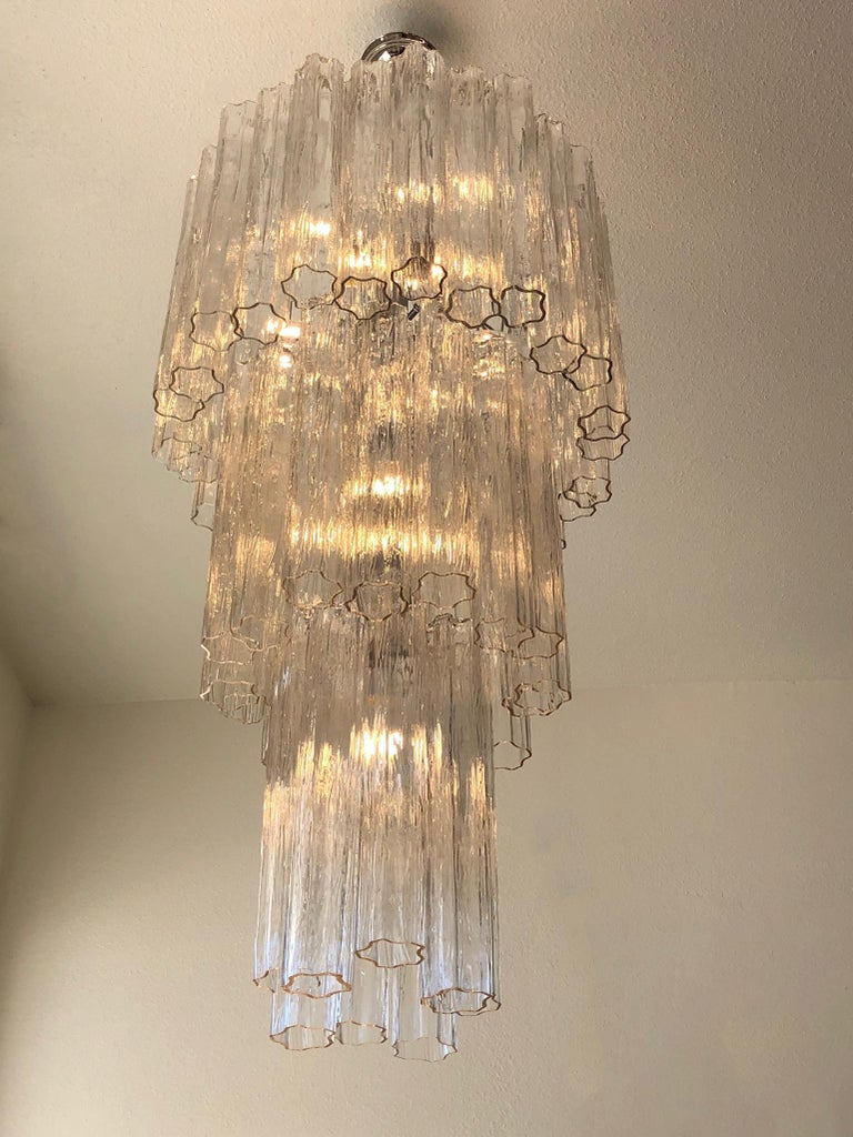 Cast Italian Clear Murano Glass and Chrome Tronchi Chandelier by Venini For Sale