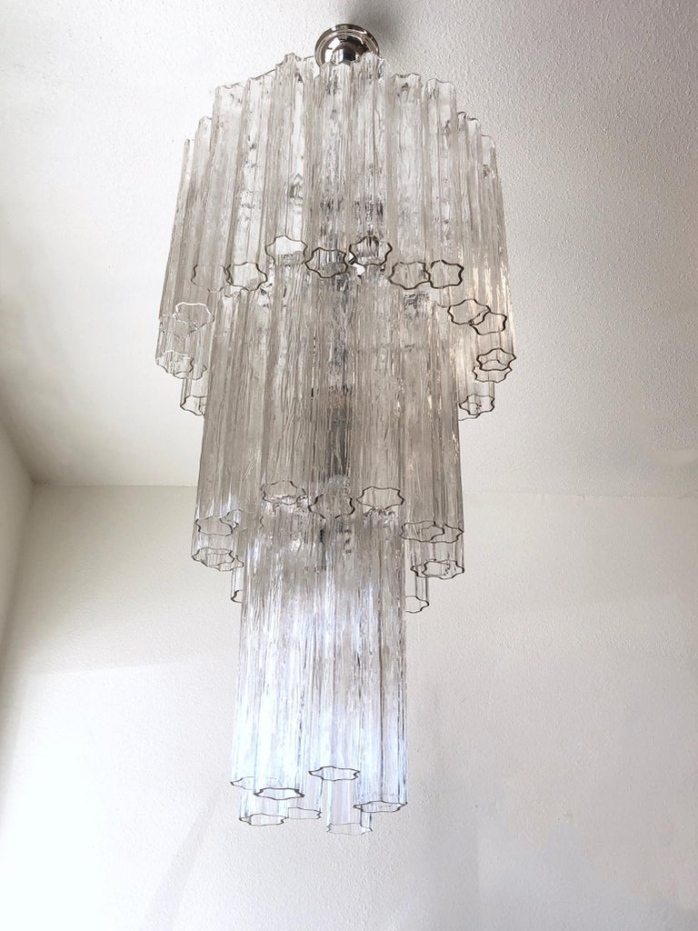 Italian Clear Murano Glass and Chrome Tronchi Chandelier by Venini For Sale 1