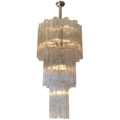 Italian Clear Murano Glass and Chrome Tronchi Chandelier by Venini