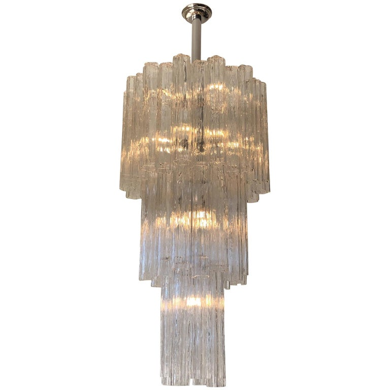 Italian Clear Murano Glass and Chrome Tronchi Chandelier by Venini For Sale