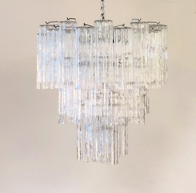 Late 20th Century Italian Clear Murano Glass Chandelier by Venini For Sale