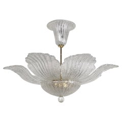 Italian Clear Murano Glass Chandelier in the Style of Barovier, circa 1970s