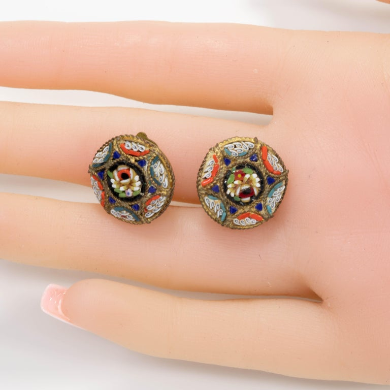 Italian Cloisonne Mosaic Clip On Button Earrings in Brass Tone, Early Mid 1900s For Sale 1