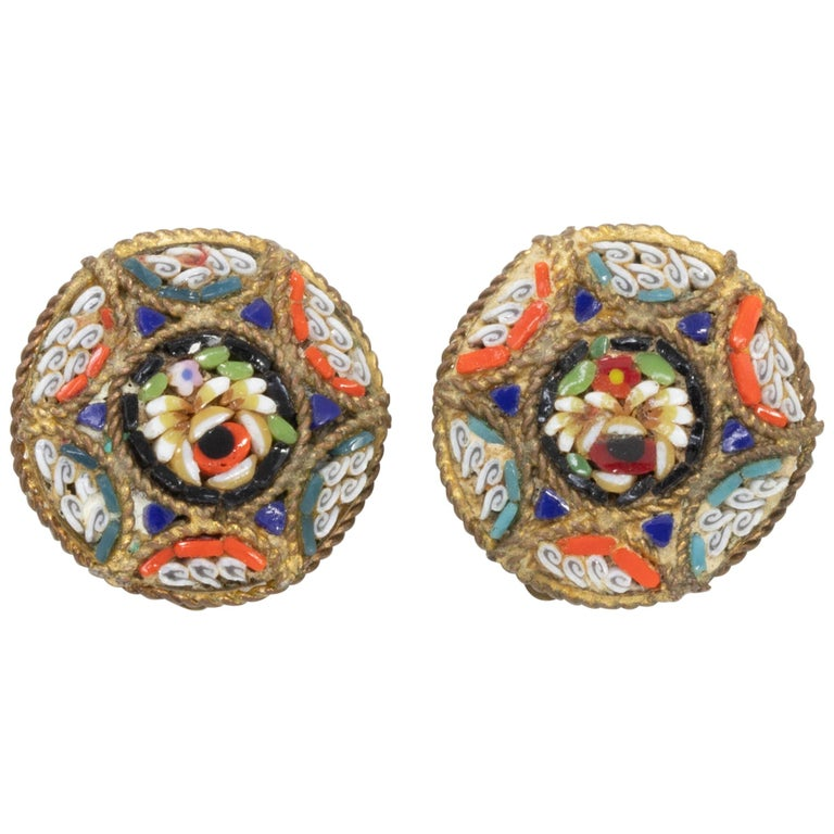 Italian Cloisonne Mosaic Clip On Button Earrings in Brass Tone, Early Mid 1900s For Sale