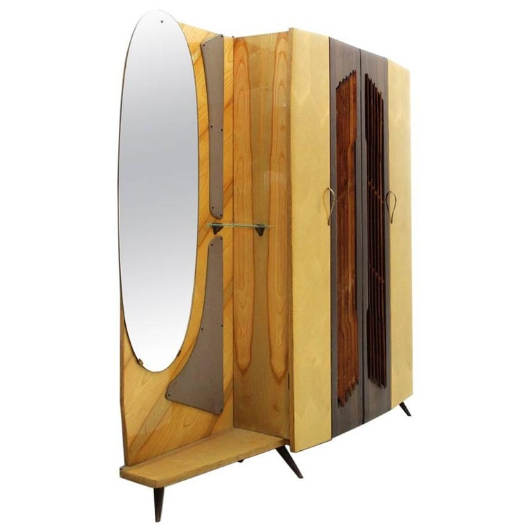 Italian Coat Hanger Armoire with Mirror, 1950s at 1stdibs