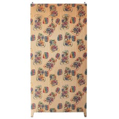 Italian Coat Rack with Floral Washable Wallpaper, 1950s