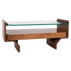 Italian Coffee Table Attr. Vittorio Gregotti in Wood and Glass, 1960s