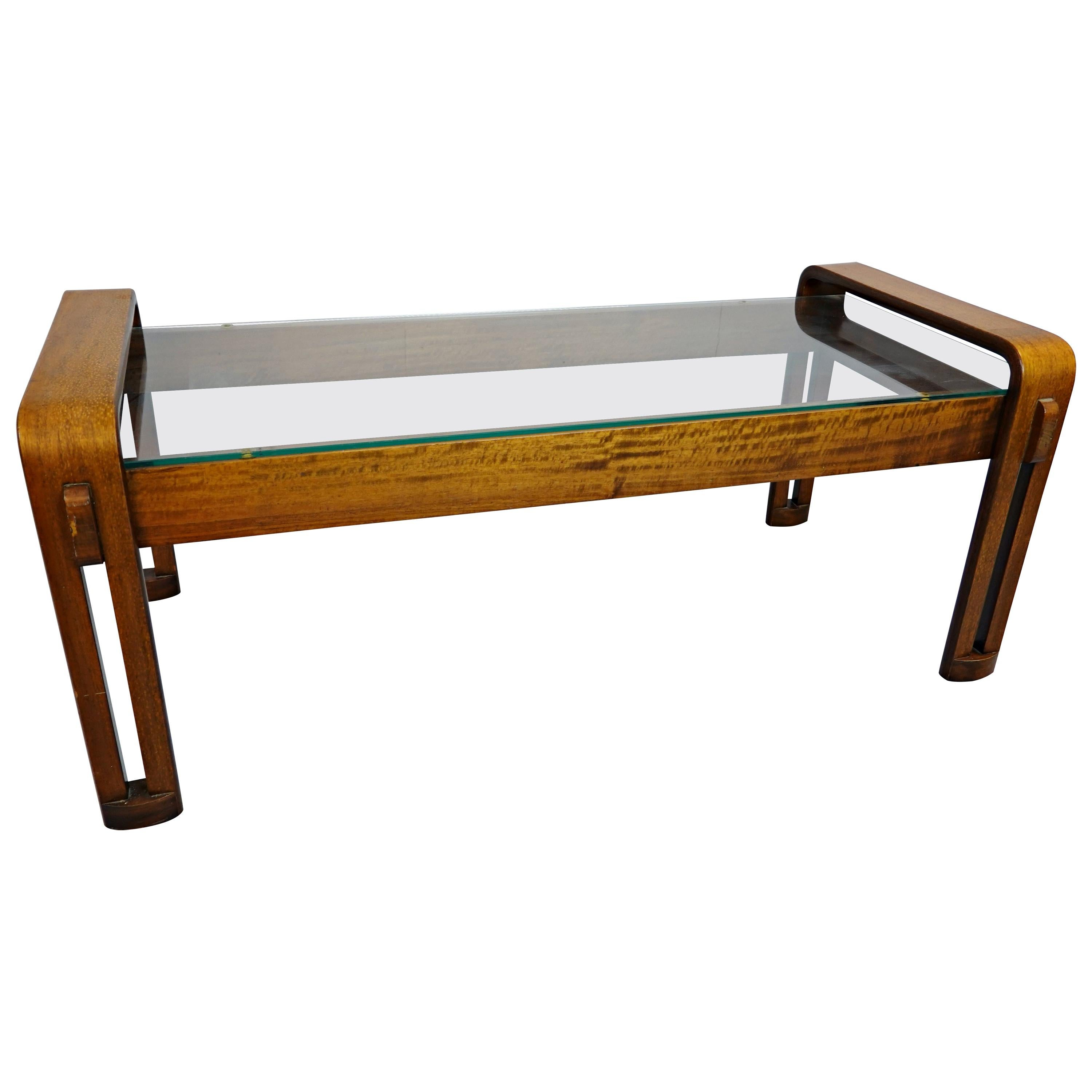 Mid-Century Modern Italian Coffee Table, Bentwood and Glass