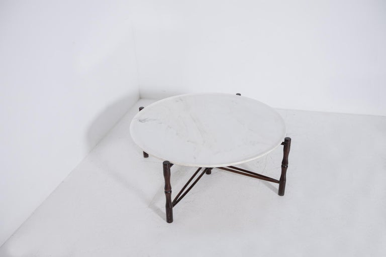Italian Coffee Table by Giuseppe Scapinelli in Wood and Marble, 1950s For Sale 6