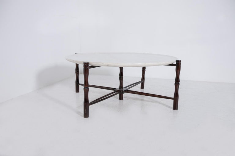 Mid-Century Modern Italian Coffee Table by Giuseppe Scapinelli in Wood and Marble, 1950s For Sale