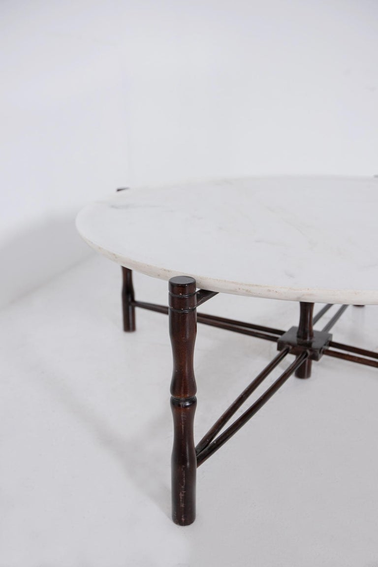 Italian Coffee Table by Giuseppe Scapinelli in Wood and Marble, 1950s In Good Condition For Sale In Milano, IT