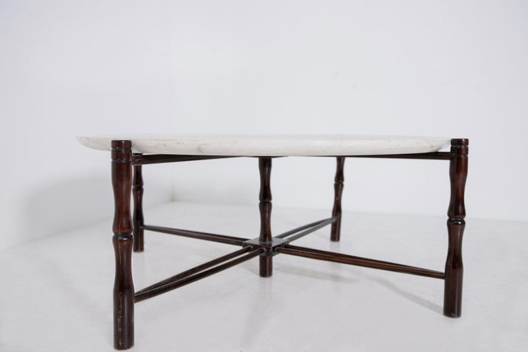 Mid-20th Century Italian Coffee Table by Giuseppe Scapinelli in Wood and Marble, 1950s For Sale